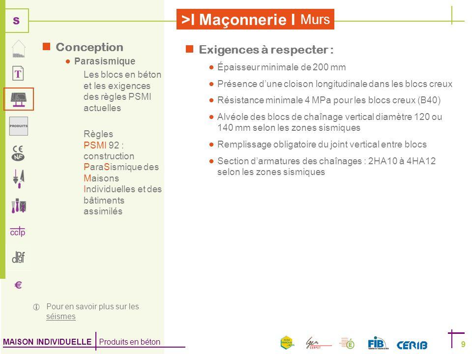 MAISON INDIVIDUELLE Produits en béton >I Maçonnerie I 9 Murs 9 Conception Parasismique Les blocs en béton et les exigences des règles PSMI actuelles R