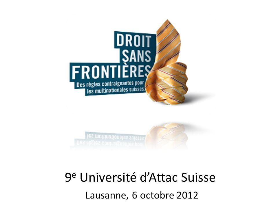 9 e Université dAttac Suisse Lausanne, 6 octobre 2012