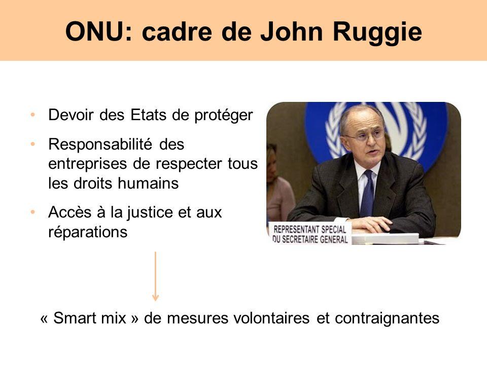 ONU: cadre de John Ruggie Devoir des Etats de protéger Responsabilité des entreprises de respecter tous les droits humains Accès à la justice et aux réparations « Smart mix » de mesures volontaires et contraignantes