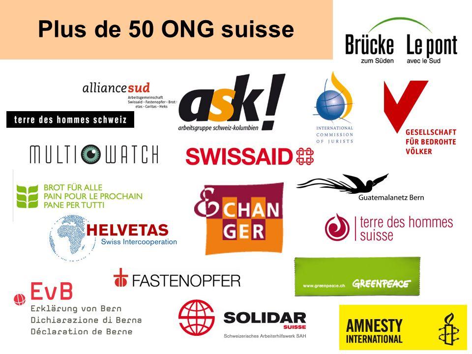 Campagne Droit sans frontières Lancement novembre 2011 Pétition (juin): 135285 signatures Lobbying parlementaire « Nous demandons au Conseil fédéral et au Parlement de faire en sorte que les entreprises ayant leur siège en Suisse doivent respecter les droits humains et lenvironnement partout dans le monde.
