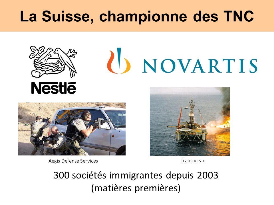 La Suisse, championne des TNC 300 sociétés immigrantes depuis 2003 (matières premières) Aegis Defense Services Transocean
