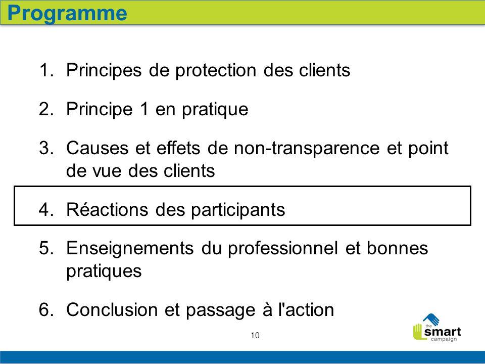 10 1. Principes de protection des clients 2. Principe 1 en pratique 3. Causes et effets de non-transparence et point de vue des clients 4. Réactions d