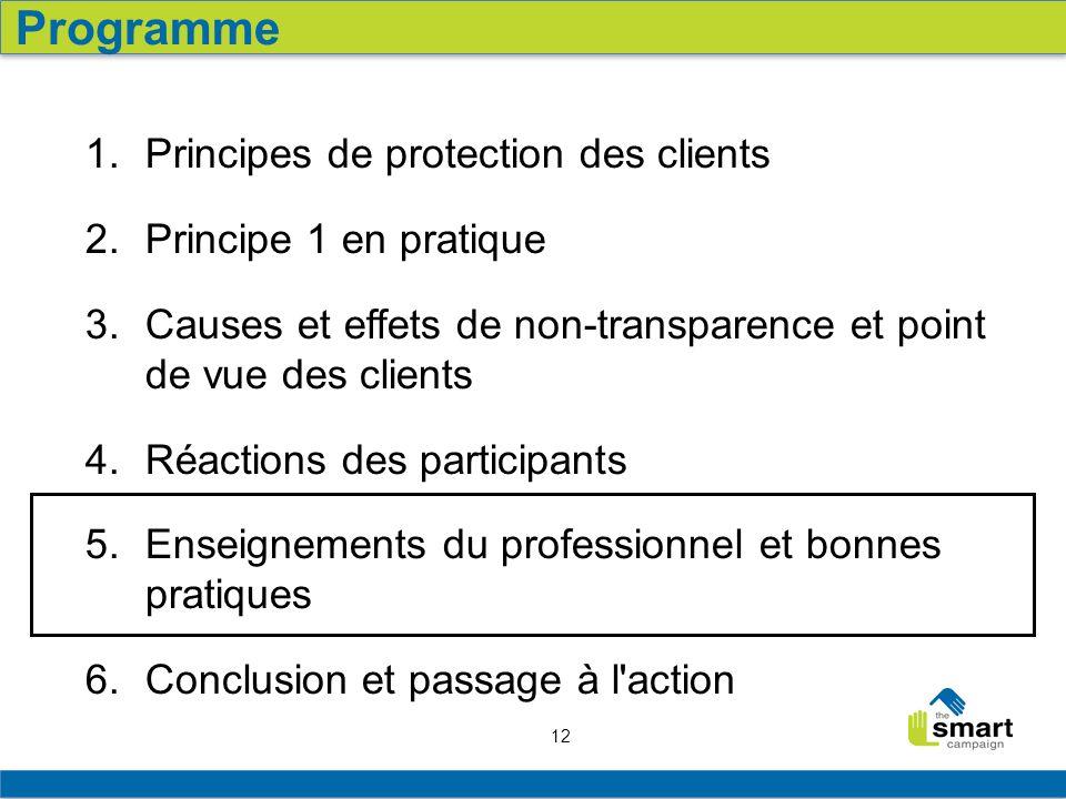 12 1. Principes de protection des clients 2. Principe 1 en pratique 3. Causes et effets de non-transparence et point de vue des clients 4. Réactions d