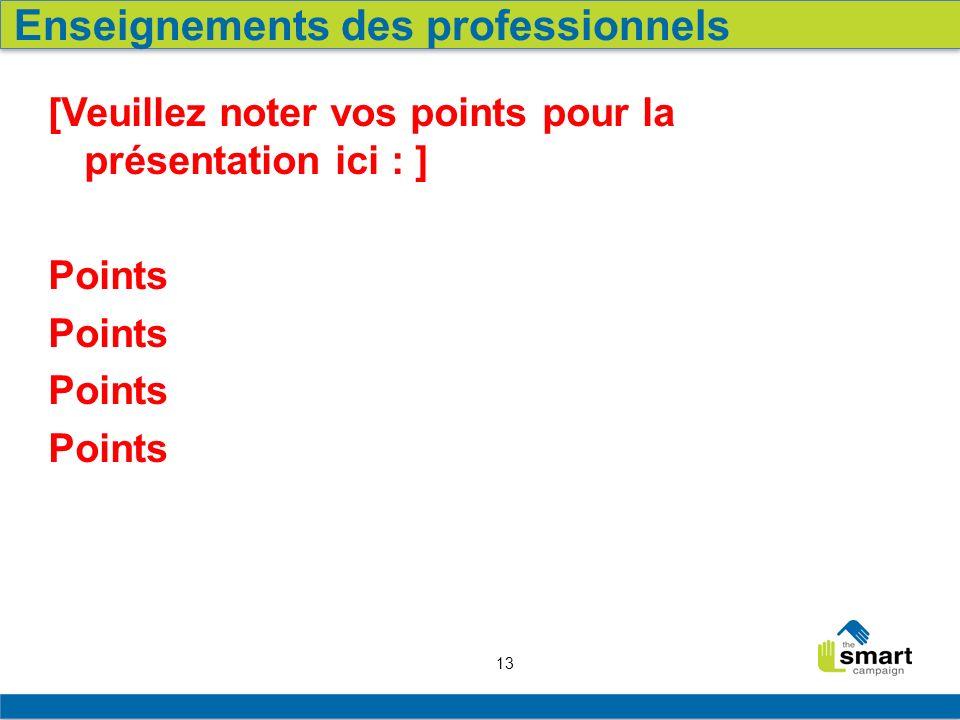 13 [Veuillez noter vos points pour la présentation ici : ] Points Enseignements des professionnels