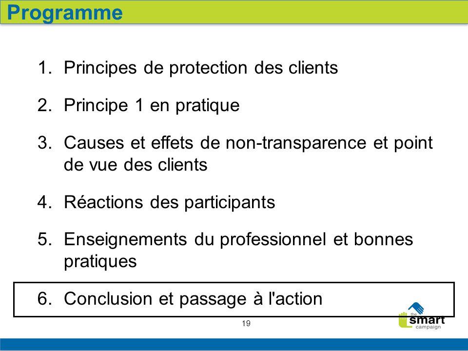 19 1. Principes de protection des clients 2. Principe 1 en pratique 3. Causes et effets de non-transparence et point de vue des clients 4. Réactions d