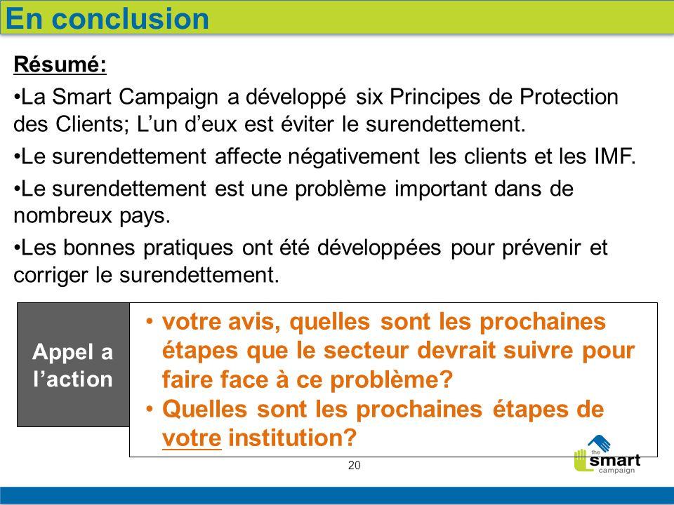 20 Résumé: La Smart Campaign a développé six Principes de Protection des Clients; Lun deux est éviter le surendettement. Le surendettement affecte nég