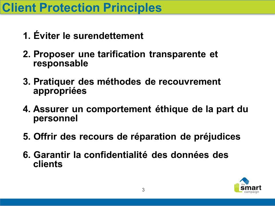 3 Client Protection Principles 1. Éviter le surendettement 2. Proposer une tarification transparente et responsable 3. Pratiquer des méthodes de recou
