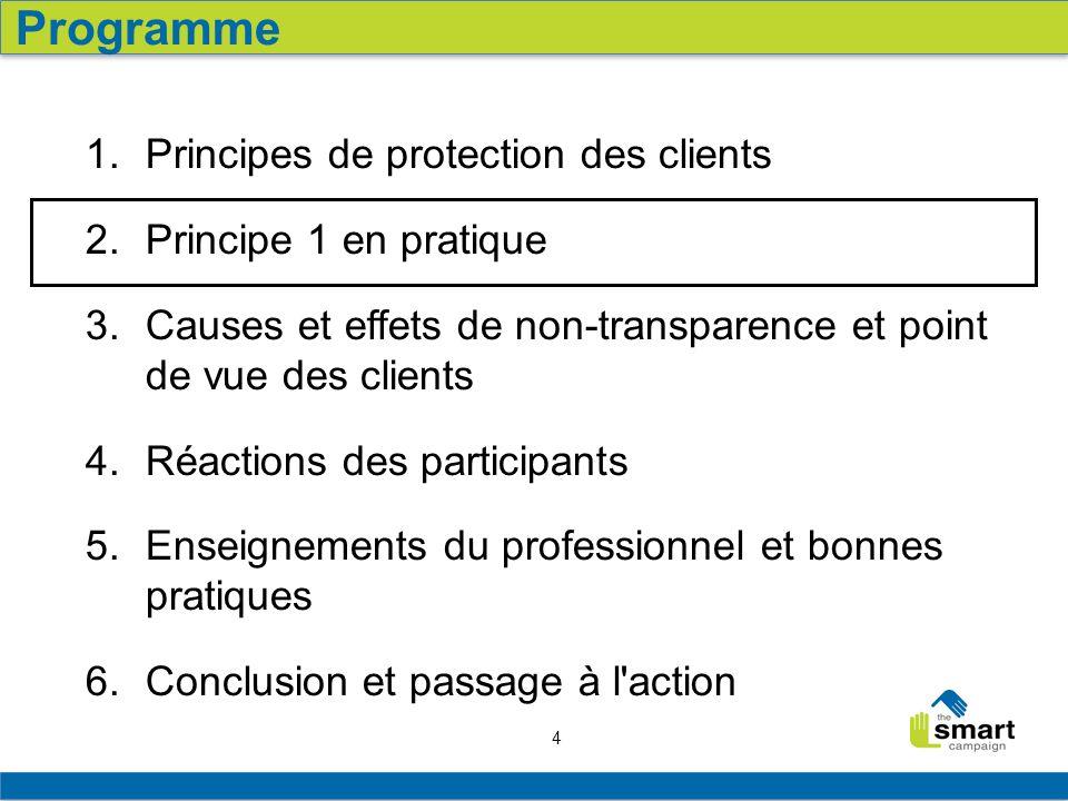 4 1. Principes de protection des clients 2. Principe 1 en pratique 3. Causes et effets de non-transparence et point de vue des clients 4. Réactions de