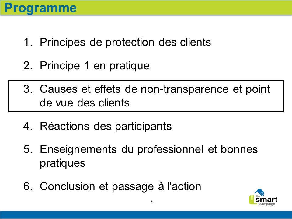 6 1. Principes de protection des clients 2. Principe 1 en pratique 3. Causes et effets de non-transparence et point de vue des clients 4. Réactions de