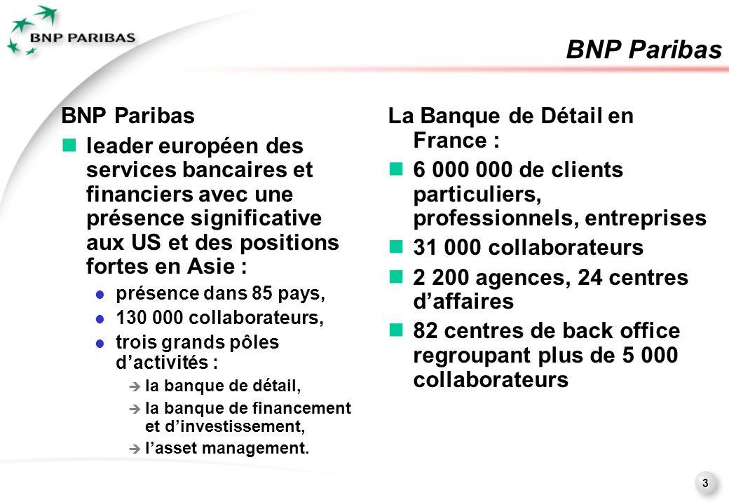 3 BNP Paribas leader européen des services bancaires et financiers avec une présence significative aux US et des positions fortes en Asie : présence dans 85 pays, 130 000 collaborateurs, trois grands pôles dactivités : la banque de détail, la banque de financement et dinvestissement, lasset management.