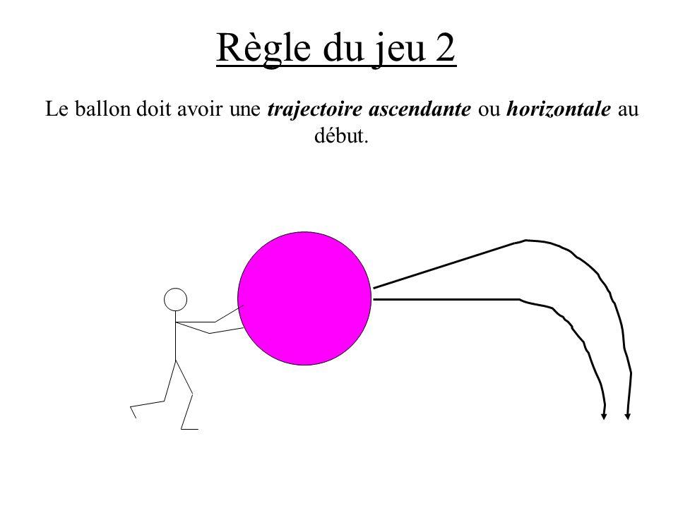 Règle du jeu 2 Le ballon doit avoir une trajectoire ascendante ou horizontale au début.