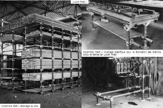 Novembre 1945 – Outillage spécifique pour la fabrication des Stampe, conçu et réalisé par Lucien Pidell (Lucien Pidell ) Novembre 1945 – Stockage du b