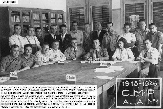 (Lucien Pidell) Août 1946 – Le Comité mixte à la production (CMP) – Autour dAndré Chatry et sa secrétaire, Mme Hanoun, se trouvent Bardet, chef de lat