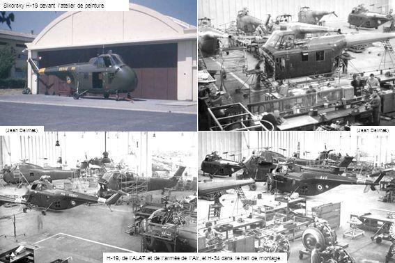 (Jean Delmas) Sikorsky H-19 devant latelier de peinture H-19, de lALAT et de larmée de lAir, et H-34 dans le hall de montage (Jean Delmas)