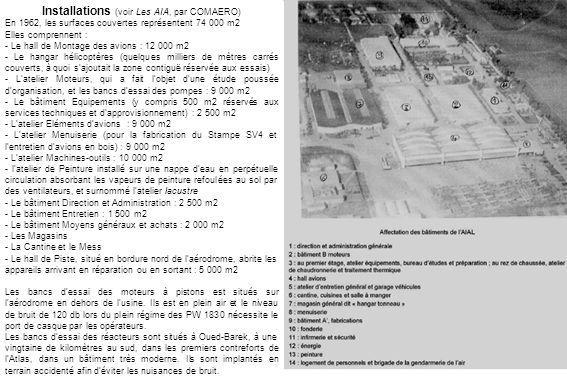 Installations (voir Les AIA, par COMAERO) En 1962, les surfaces couvertes représentent 74 000 m2 Elles comprennent : - Le hall de Montage des avions :