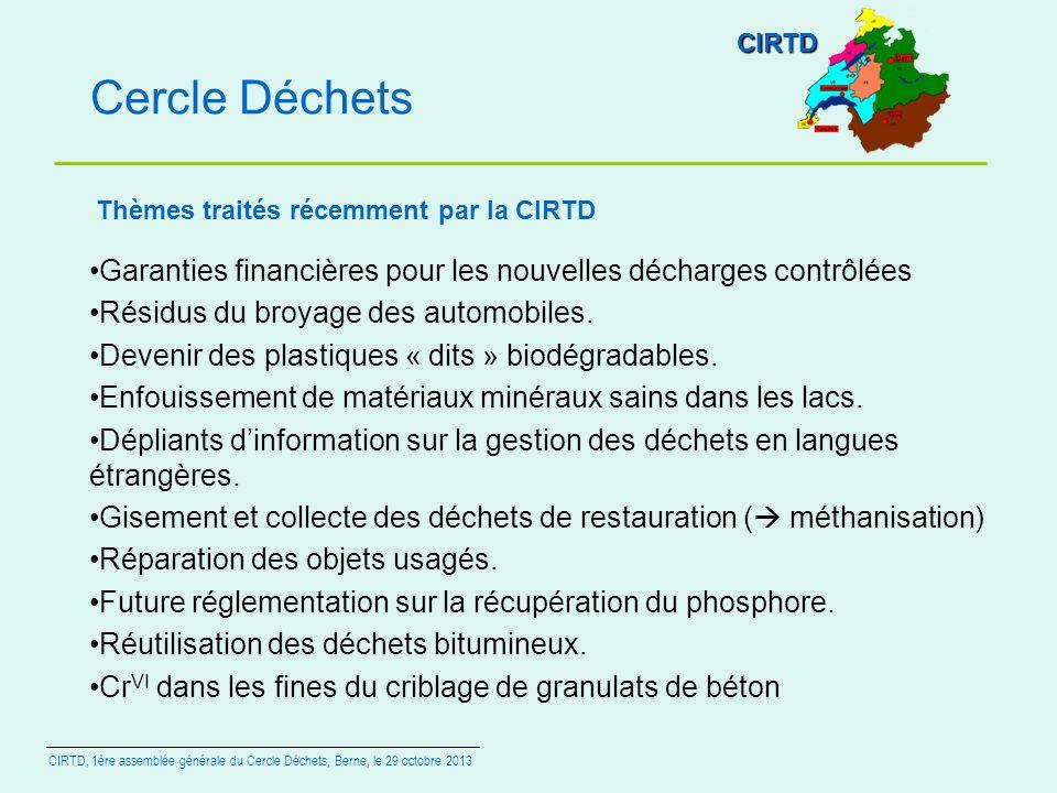 Cercle Déchets Garanties financières pour les nouvelles décharges contrôlées Résidus du broyage des automobiles. Devenir des plastiques « dits » biodé