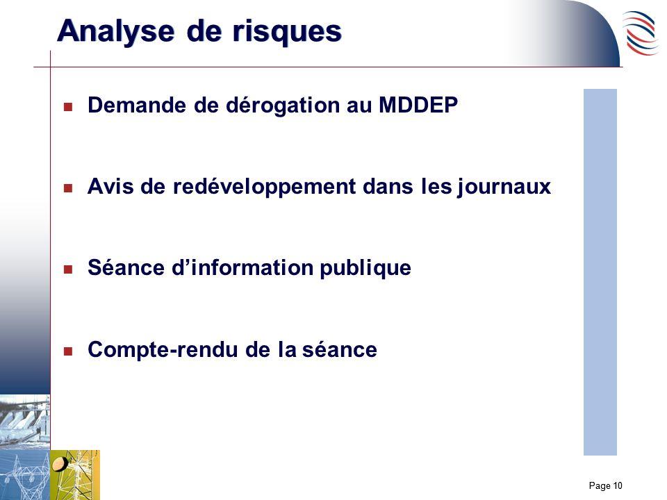 Page 10 n Demande de dérogation au MDDEP n Avis de redéveloppement dans les journaux n Séance dinformation publique n Compte-rendu de la séance Analyse de risques