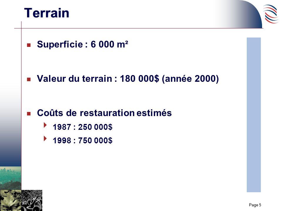 Page 5 n Superficie : 6 000 m² n Valeur du terrain : 180 000$ (année 2000) n Coûts de restauration estimés 1987 : 250 000$ 1998 : 750 000$ Terrain