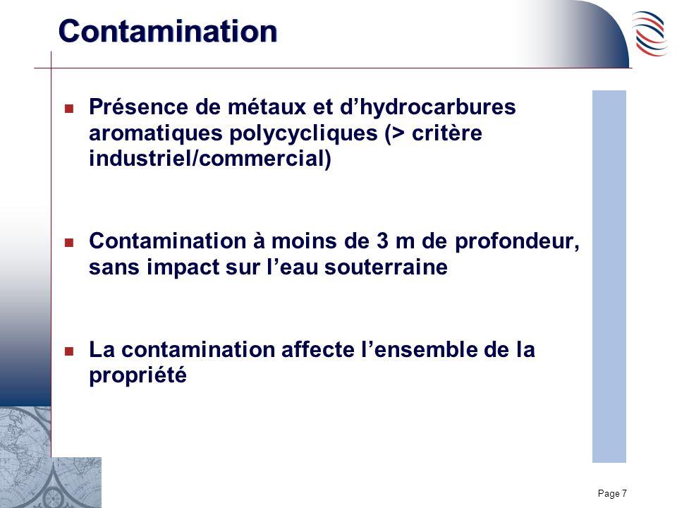 Page 7 Contamination n Présence de métaux et dhydrocarbures aromatiques polycycliques (> critère industriel/commercial) n Contamination à moins de 3 m de profondeur, sans impact sur leau souterraine n La contamination affecte lensemble de la propriété