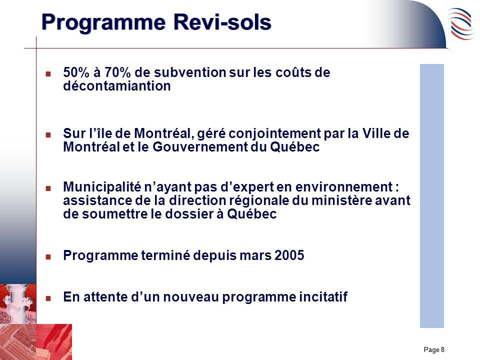 Page 8 Programme Revi-sols n 50% à 70% de subvention sur les coûts de décontamiantion n Sur lîle de Montréal, géré conjointement par la Ville de Montr