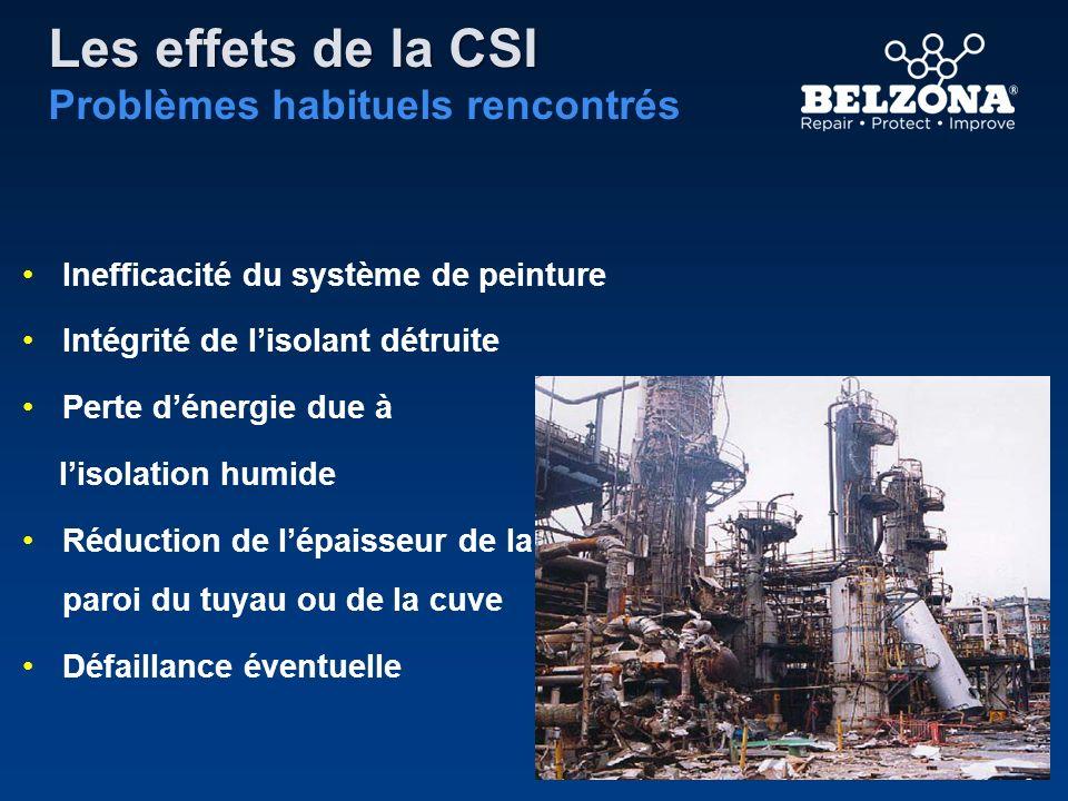 Les effets de la CSI Problèmes habituels rencontrés Inefficacité du système de peinture Intégrité de lisolant détruite Perte dénergie due à lisolation