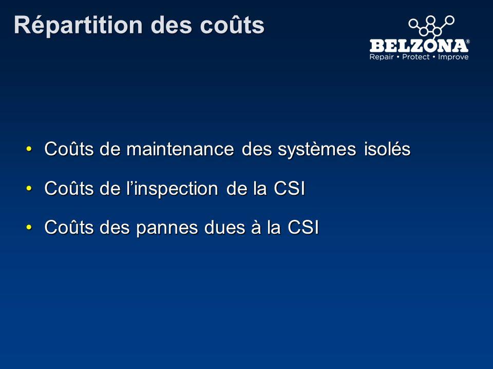 Répartition des coûts Coûts de maintenance des systèmes isolésCoûts de maintenance des systèmes isolés Coûts de linspection de la CSICoûts de linspect