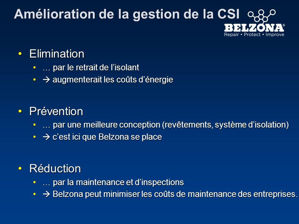Amélioration de la gestion de la CSI EliminationElimination … par le retrait de lisolant… par le retrait de lisolant augmenterait les coûts dénergie a