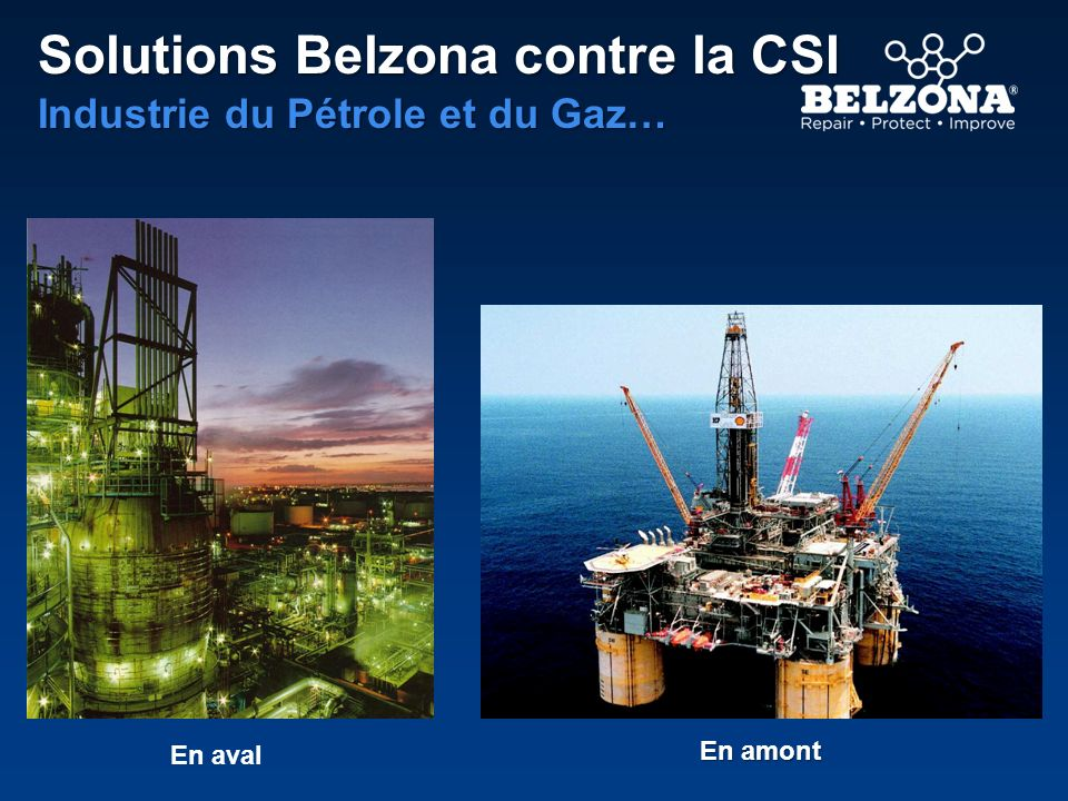 Solutions Belzona contre la CSI Industrie du Pétrole et du Gaz… En aval En amont