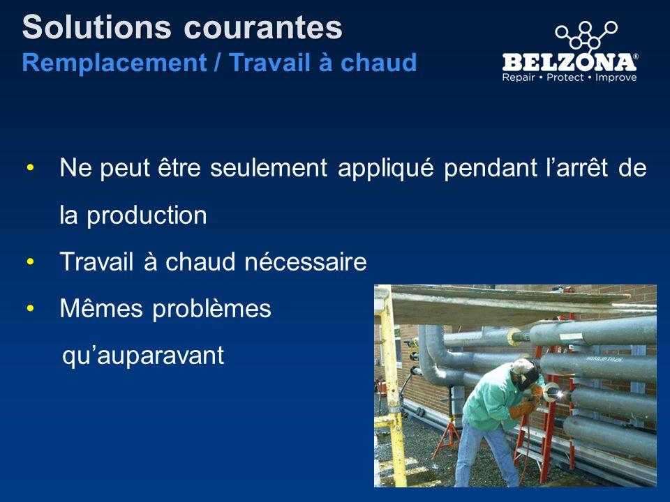 Solutions courantes Remplacement / Travail à chaud Ne peut être seulement appliqué pendant larrêt de la production Travail à chaud nécessaire Mêmes pr