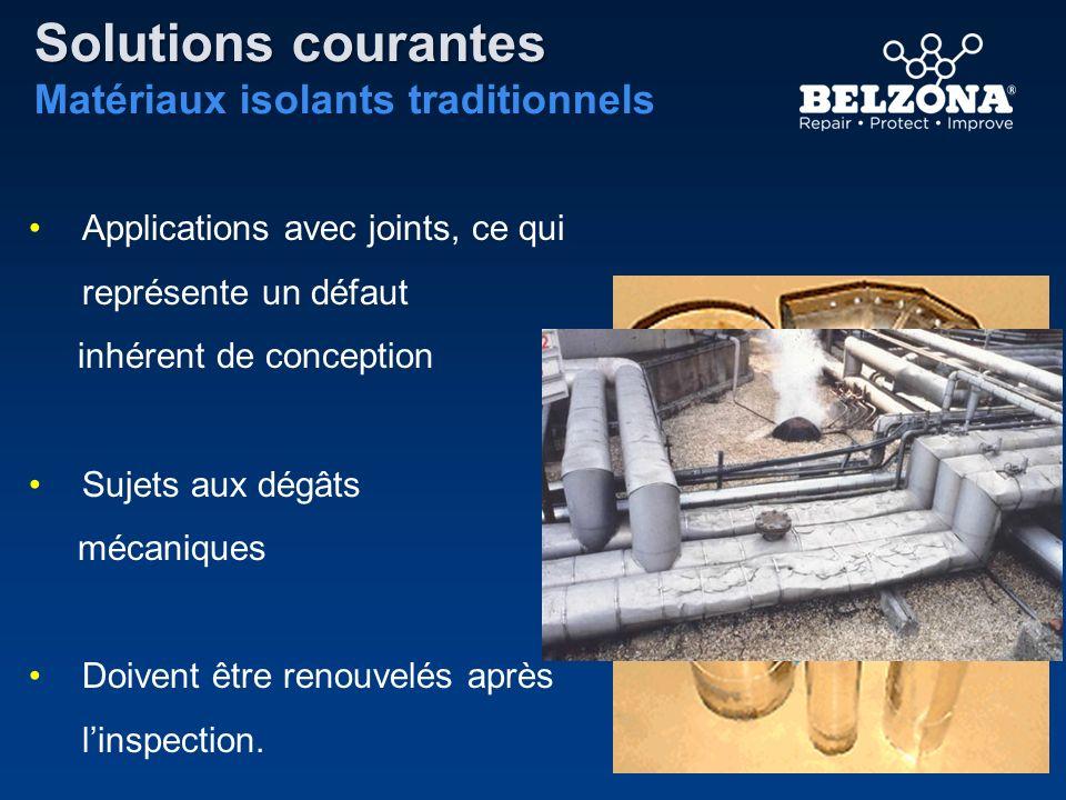 Solutions courantes Matériaux isolants traditionnels Applications avec joints, ce qui représente un défaut inhérent de conception Sujets aux dégâts mé