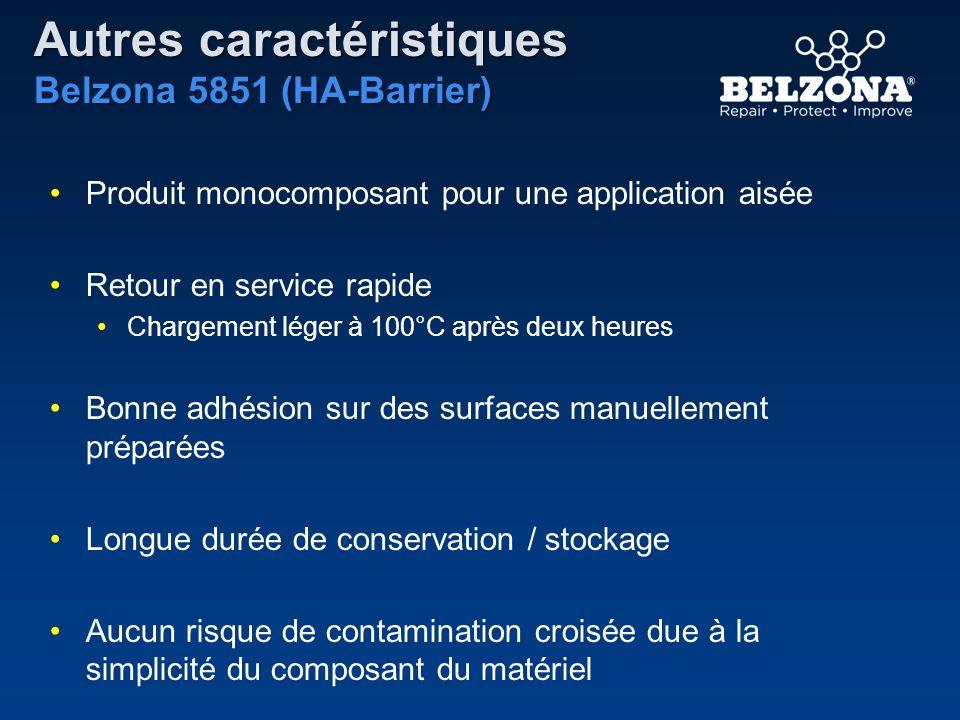 Autres caractéristiques Belzona 5851 (HA-Barrier) Produit monocomposant pour une application aisée Retour en service rapide Chargement léger à 100°C a