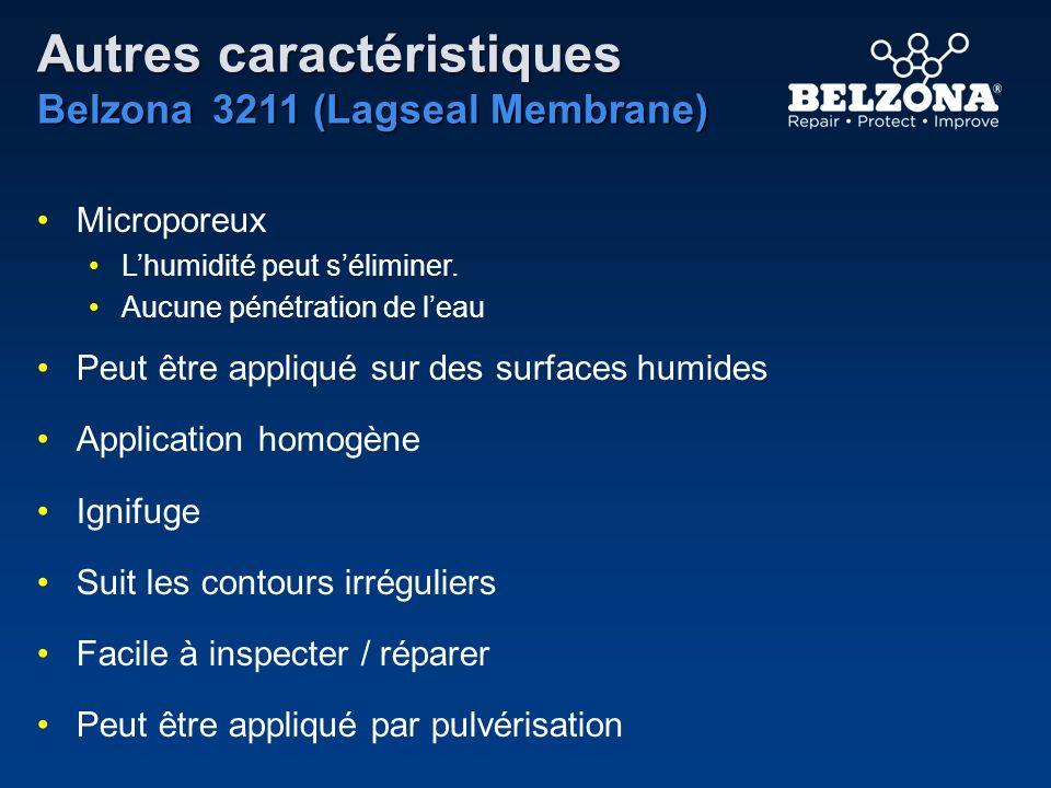 Autres caractéristiques Belzona 3211 (Lagseal Membrane) Microporeux Lhumidité peut séliminer. Aucune pénétration de leau Peut être appliqué sur des su