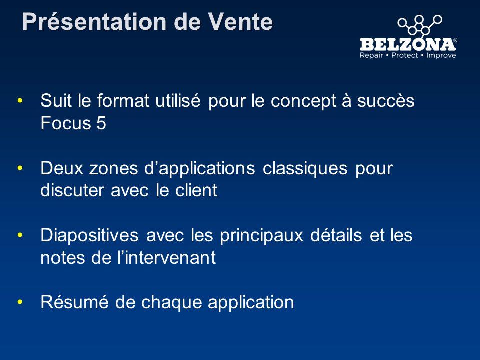 Présentation de Vente Suit le format utilisé pour le concept à succès Focus 5 Deux zones dapplications classiques pour discuter avec le client Diaposi