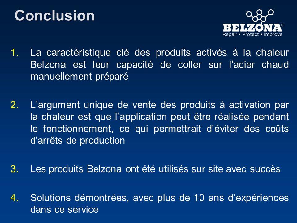 Conclusion 1. 1.La caractéristique clé des produits activés à la chaleur Belzona est leur capacité de coller sur lacier chaud manuellement préparé 2.