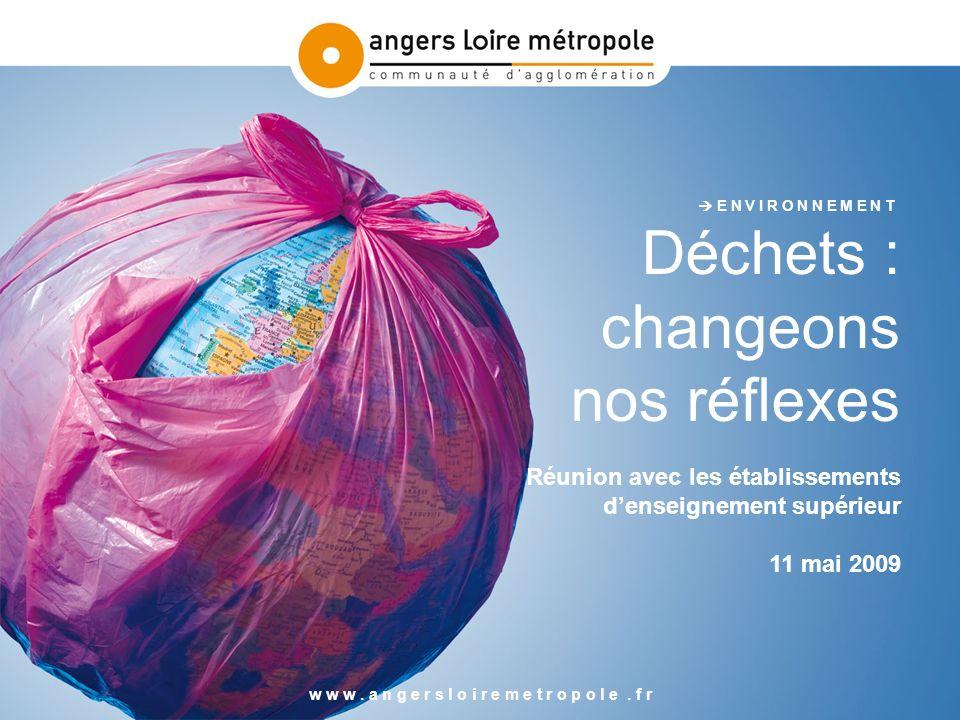 E N V I R O N N E M E N T Déchets : changeons nos réflexes Réunion avec les établissements denseignement supérieur 11 mai 2009 w w w.