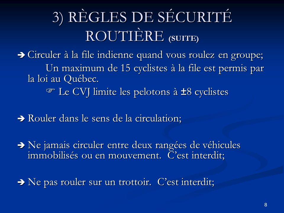 39 5) ROULER EN PELOTON Ne débutez pas une sortie à vitesse élevée Ne débutez pas une sortie à vitesse élevée Gardez la tête haute et ne fixez pas la roue avant de votre vélo, ni la roue arrière du vélo qui vous précède Gardez la tête haute et ne fixez pas la roue avant de votre vélo, ni la roue arrière du vélo qui vous précède Soyez régulier et prévisible : roulez sans donner de coups et évitez tous les gestes brusques (changements de trajectoire, freinages…) Soyez régulier et prévisible : roulez sans donner de coups et évitez tous les gestes brusques (changements de trajectoire, freinages…) Gardez votre ligne de route la plus droite possible Gardez votre ligne de route la plus droite possible Roulez derrière lautre cycliste Roulez derrière lautre cycliste