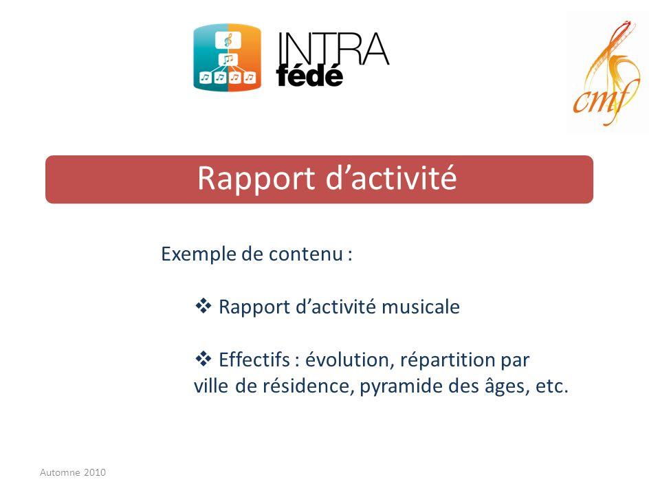 Rapport dactivité Exemple de contenu : Rapport dactivité musicale Effectifs : évolution, répartition par ville de résidence, pyramide des âges, etc.