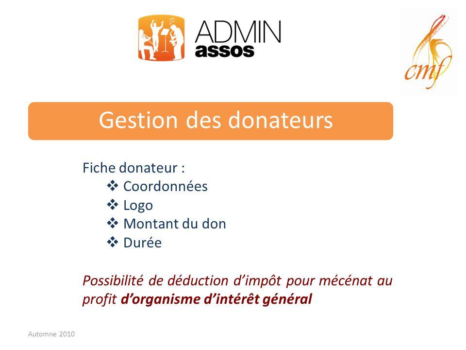 Gestion des donateurs Fiche donateur : Coordonnées Logo Montant du don Durée Possibilité de déduction dimpôt pour mécénat au profit dorganisme dintérêt général Automne 2010