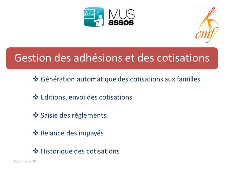 Gestion des adhésions et des cotisations Génération automatique des cotisations aux familles Editions, envoi des cotisations Saisie des règlements Rel