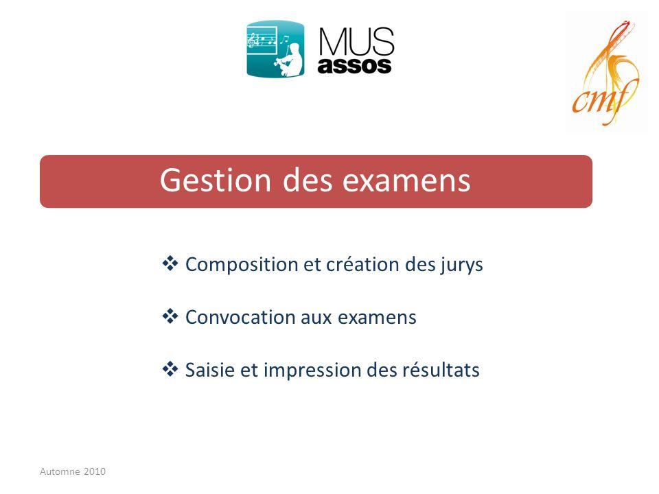 Gestion des examens Composition et création des jurys Convocation aux examens Saisie et impression des résultats Automne 2010