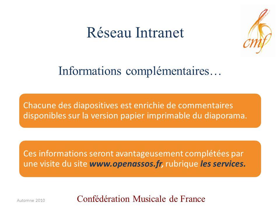 Informations complémentaires… Chacune des diapositives est enrichie de commentaires disponibles sur la version papier imprimable du diaporama.
