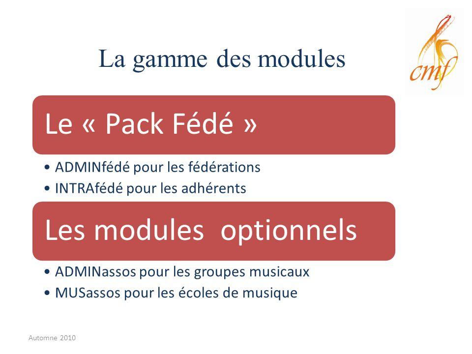 La gamme des modules Le « Pack Fédé » ADMINfédé pour les fédérations INTRAfédé pour les adhérents Les modules optionnels ADMINassos pour les groupes musicaux MUSassos pour les écoles de musique Automne 2010