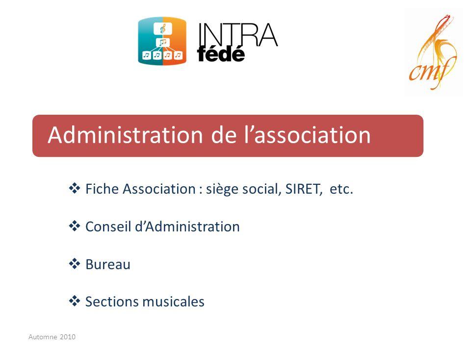 Administration de lassociation Fiche Association : siège social, SIRET, etc.