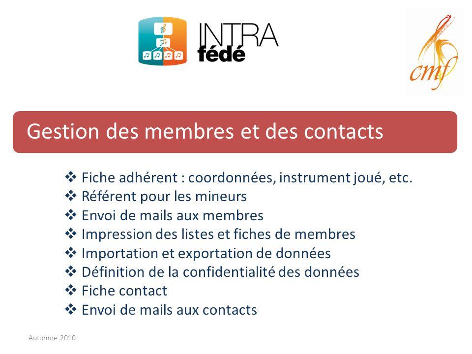 Gestion des membres et des contacts Fiche adhérent : coordonnées, instrument joué, etc. Référent pour les mineurs Envoi de mails aux membres Impressio