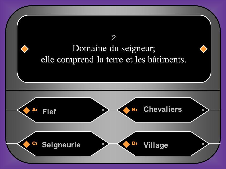 A:B: Fief Chevaliers 2 Domaine du seigneur; elle comprend la terre et les bâtiments.