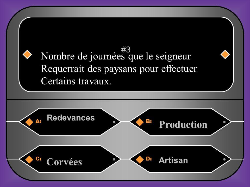 A:B: Redevances Production #3 C:D: Corvées Artisan Nombre de journées que le seigneur Requerrait des paysans pour effectuer Certains travaux.