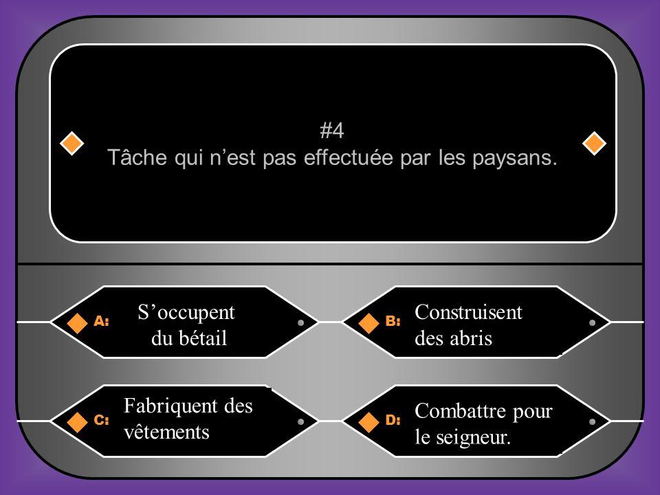 A:B: PoulesVêtements #14 Ne pouvait pas être utilisé pour payer les redevances. C:D: MonnaieEau