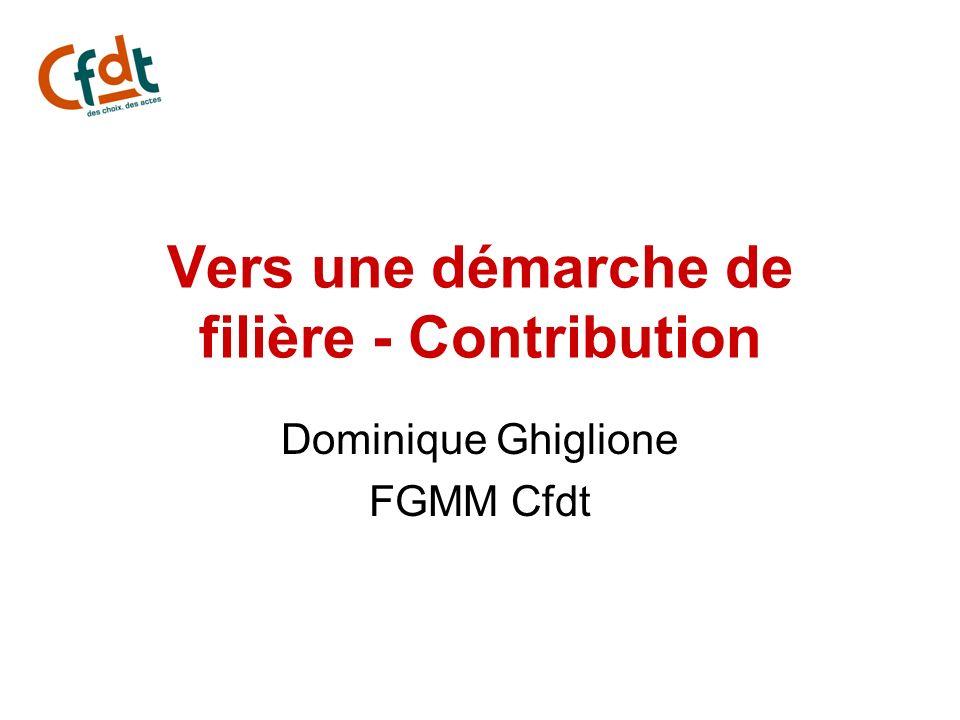 Vers une démarche de filière - Contribution Dominique Ghiglione FGMM Cfdt