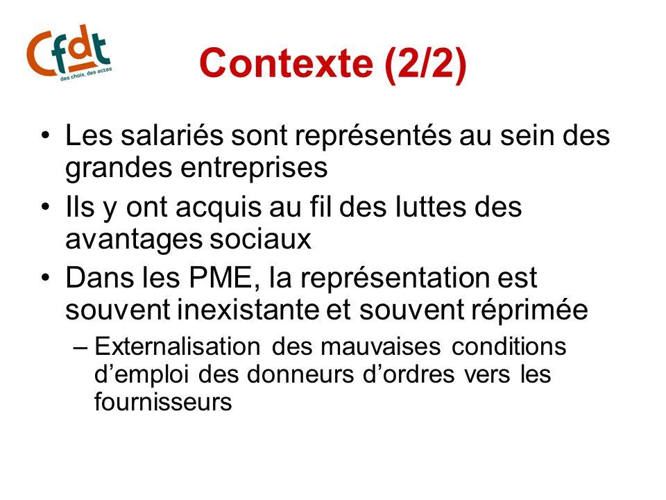 Contexte (2/2) Les salariés sont représentés au sein des grandes entreprises Ils y ont acquis au fil des luttes des avantages sociaux Dans les PME, la