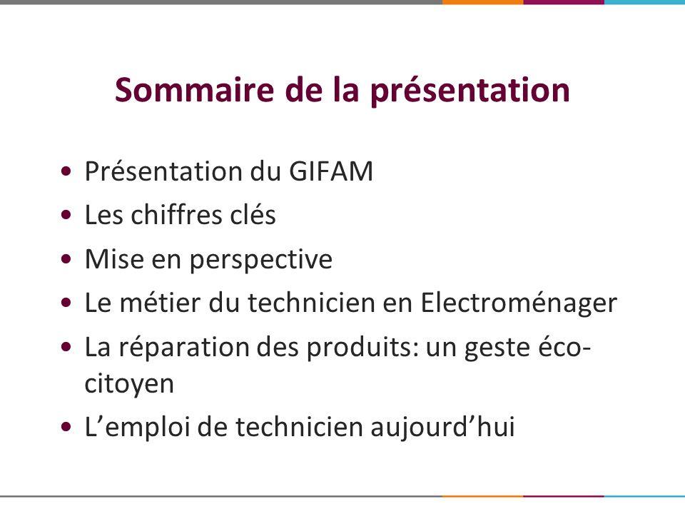 Sommaire de la présentation Présentation du GIFAM Les chiffres clés Mise en perspective Le métier du technicien en Electroménager La réparation des pr